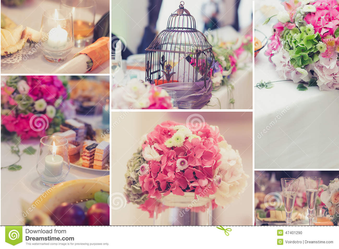 Bridal Table Decorations Collage Stock Photo - Image of detail ...