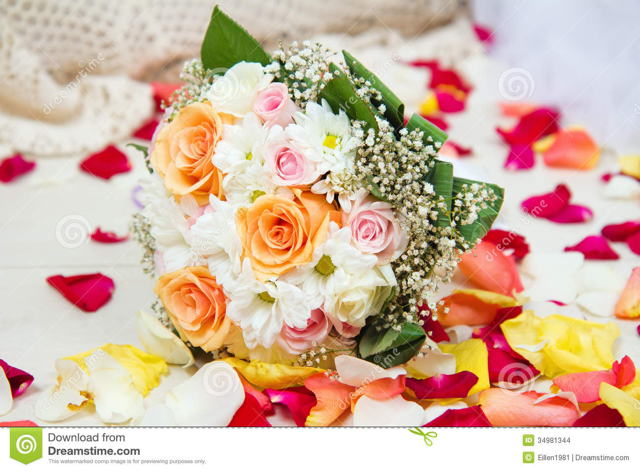 Bridal wedding bouquet of flowers with rose petals stock photo bridal wedding bouquet of flowers with rose petals izmirmasajfo
