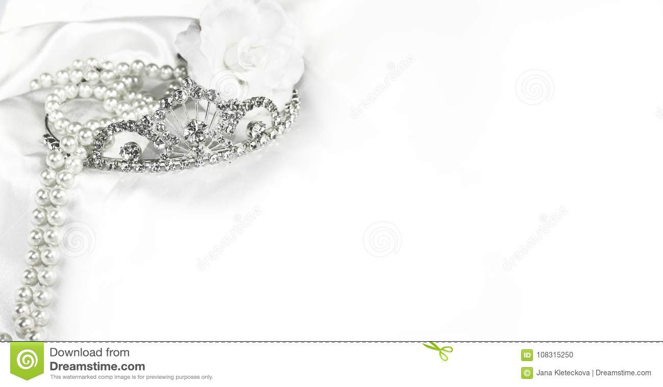 Bridal Wedding Decorations Soft White Bride Background, Silver Crown ...