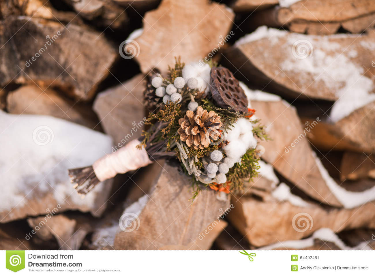 Bridal Winter Wedding Bouquet Stock Image Image Of Flower Fluffy