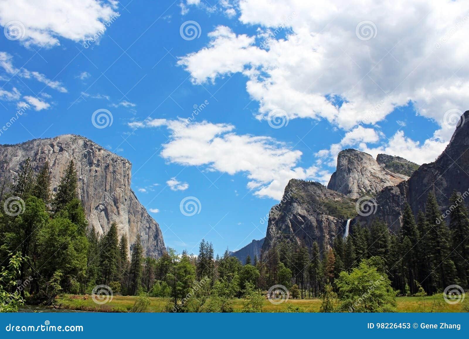 bridalveil fall and el capitan rock, yosemite valley, yosemite