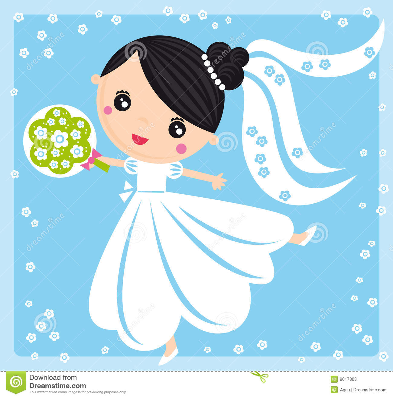 Download Bride stock vector. Illustration of pretty, dancing, background - 9617803