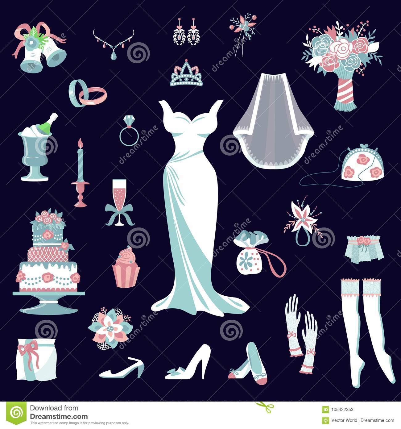 Bride Accessories Vector Set Wedding Items For Marriage