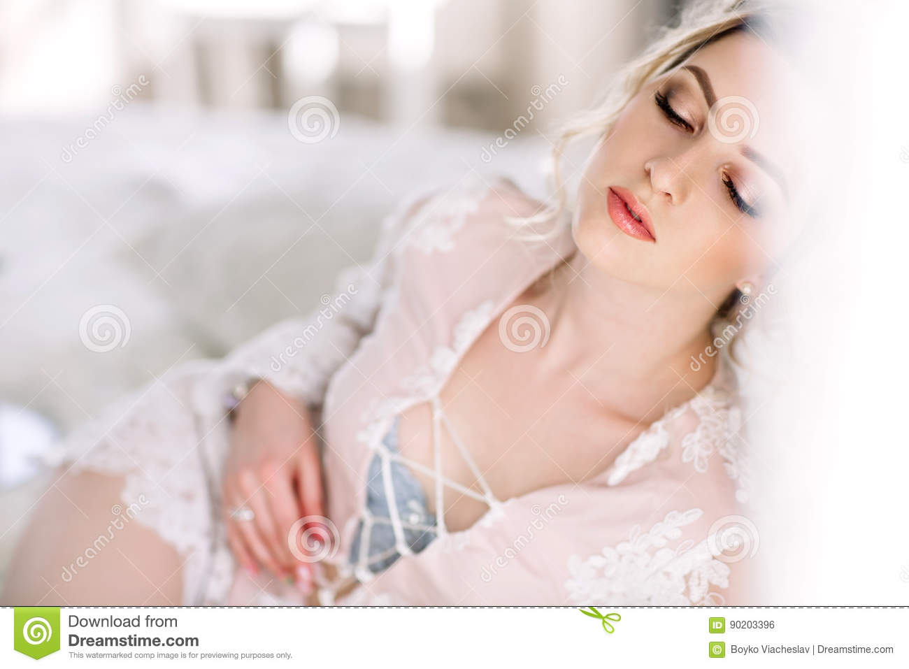 The Bride In A Bathrobe To The Bedroom Window In The ...