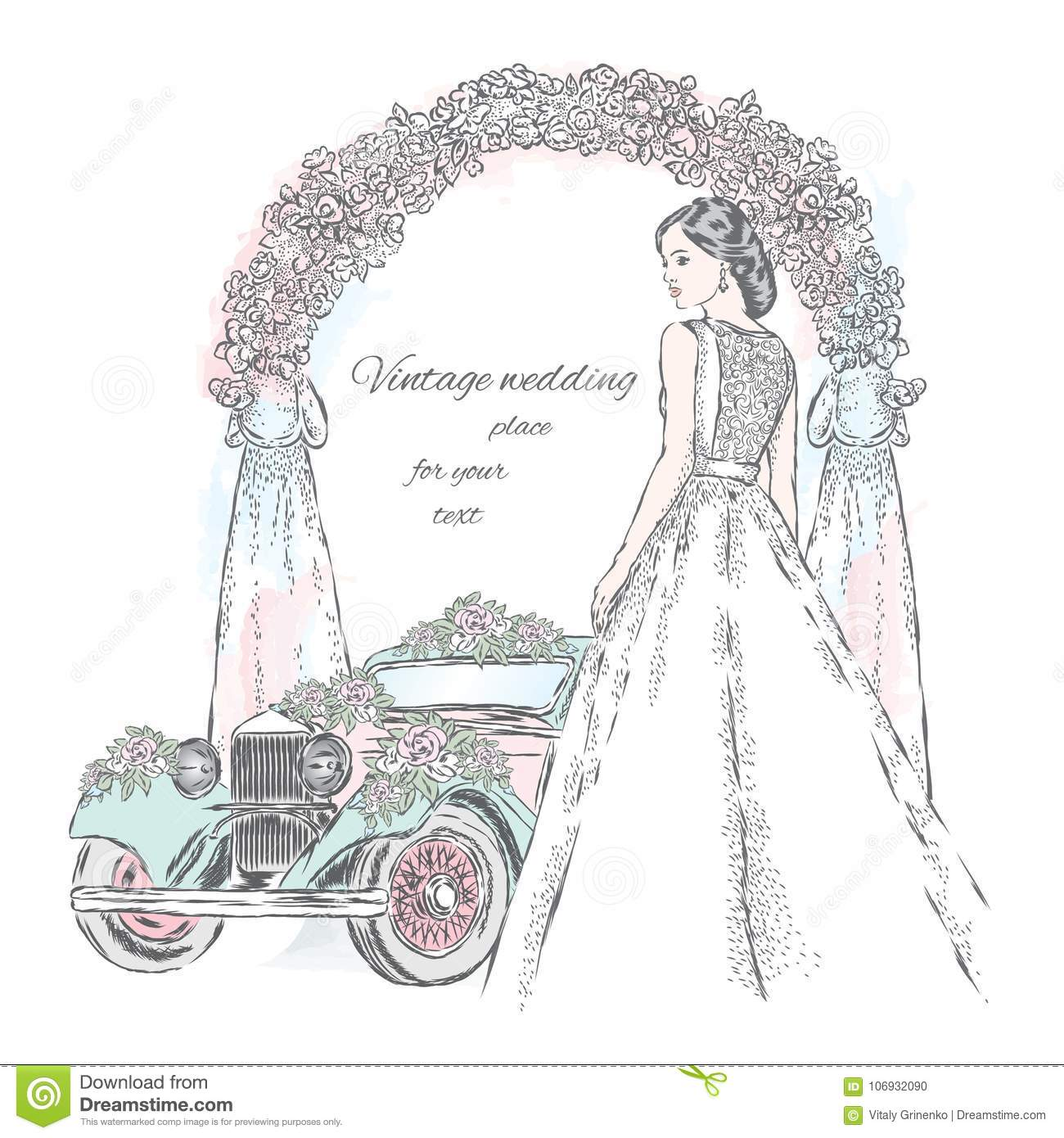 Bride In A Beautiful Dress And Wedding Car Decorated With Flowers On Arch Background