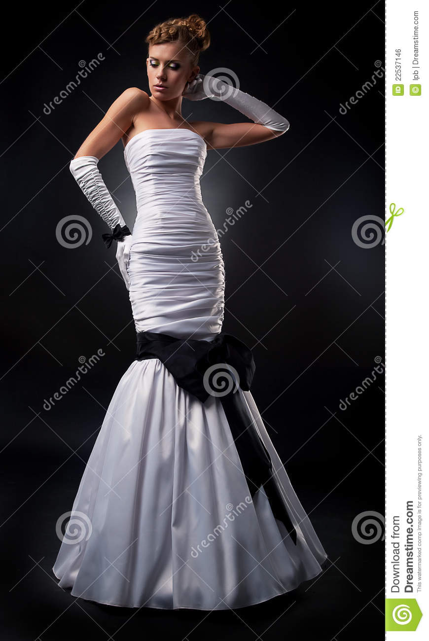 Bride Blonde In White Wedding Dress And Gloves Stock Photo - Image ...