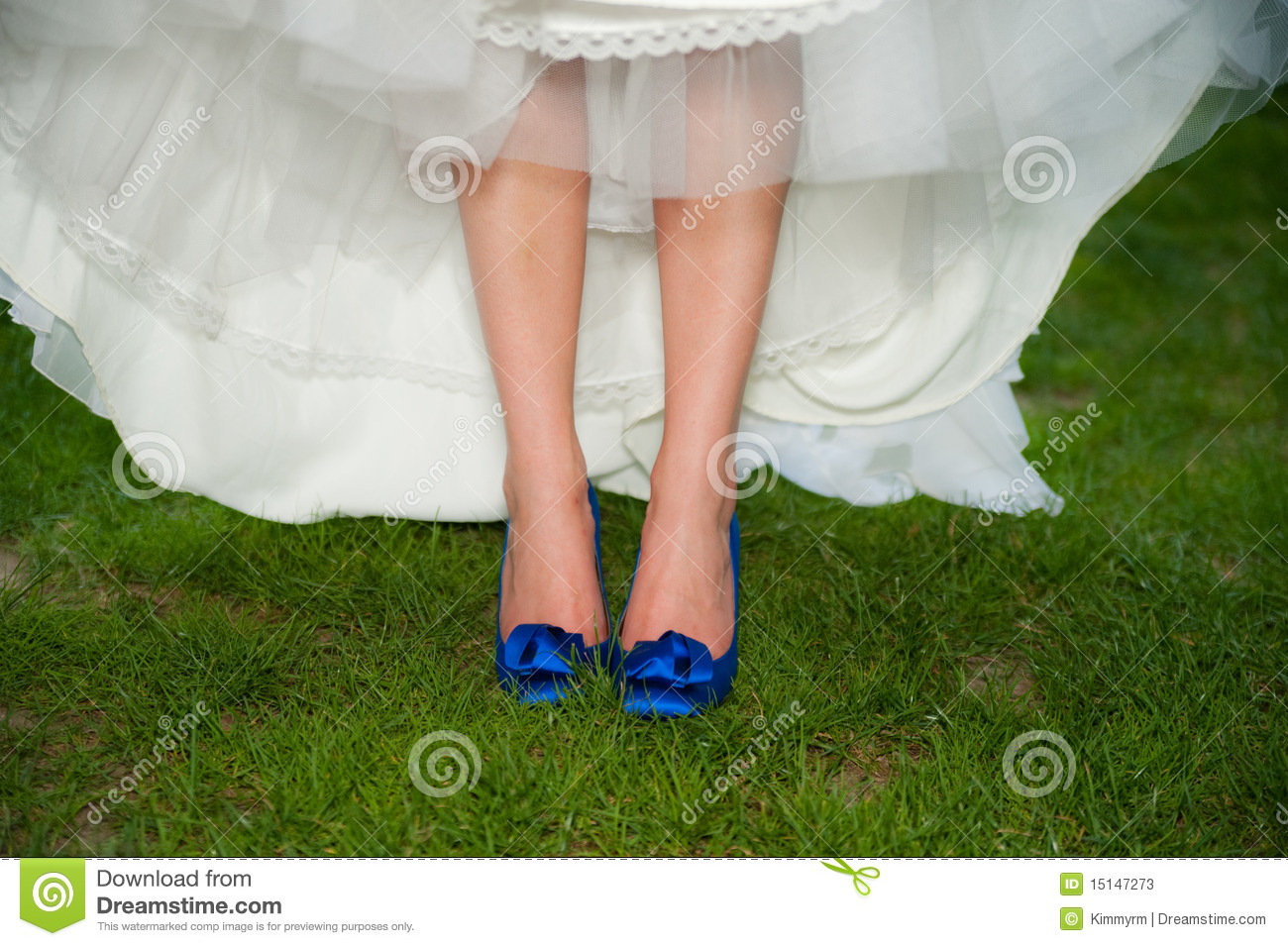Bride With Blue High Heel Shoes Stock Image