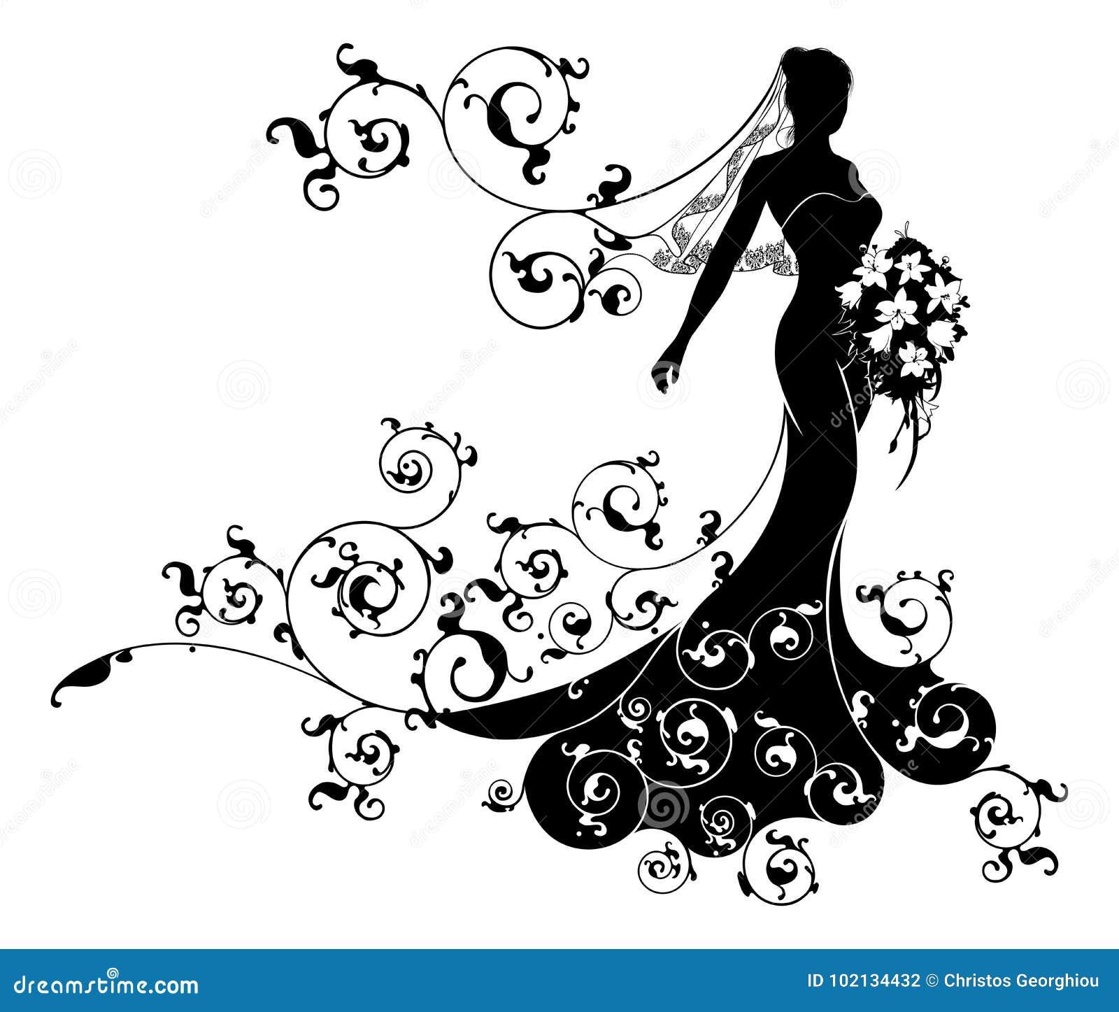 Bride Bouquet Wedding Silhouette Design Stock Vector Illustration