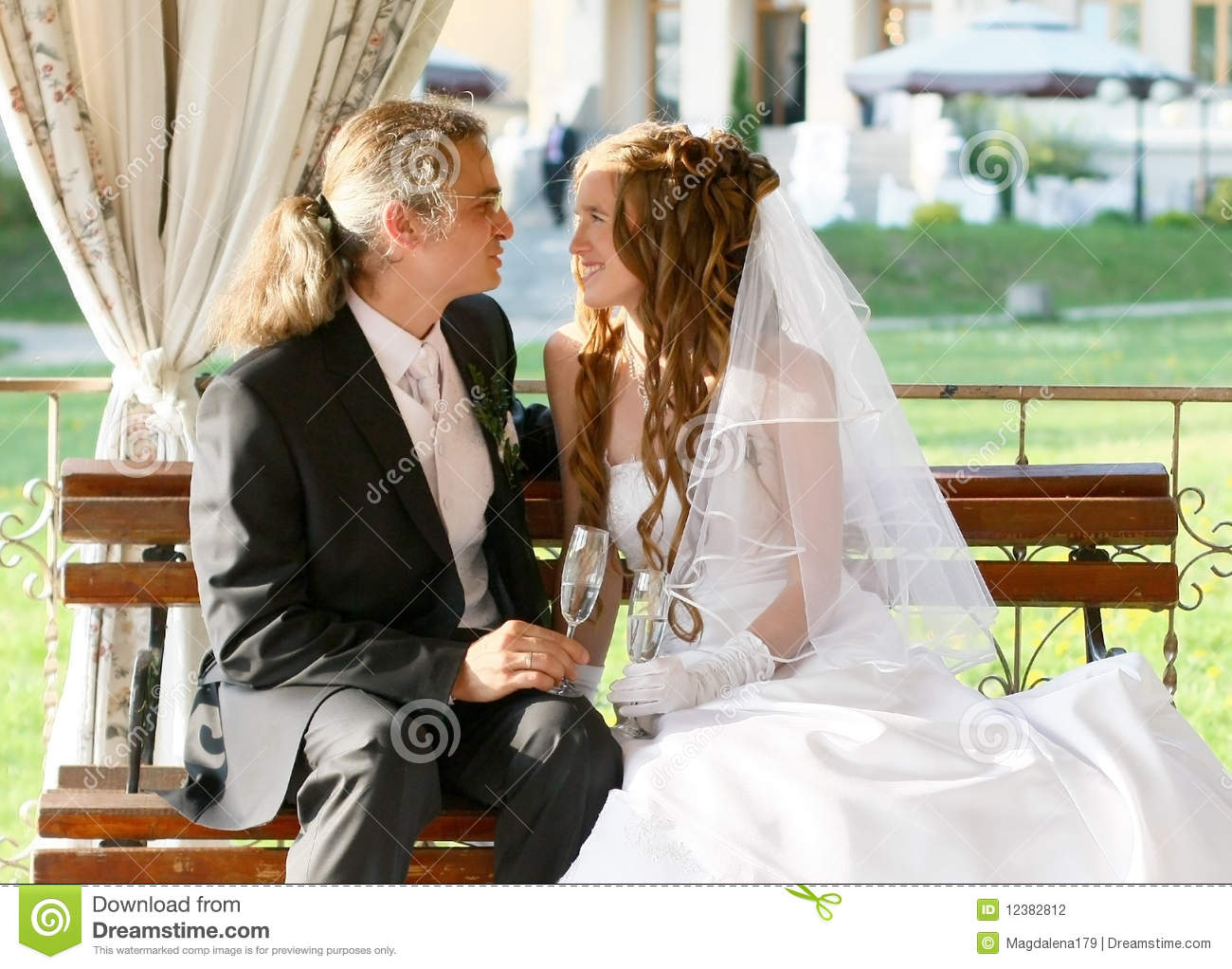 The Bride And Bridegroom Toast Stock Photography