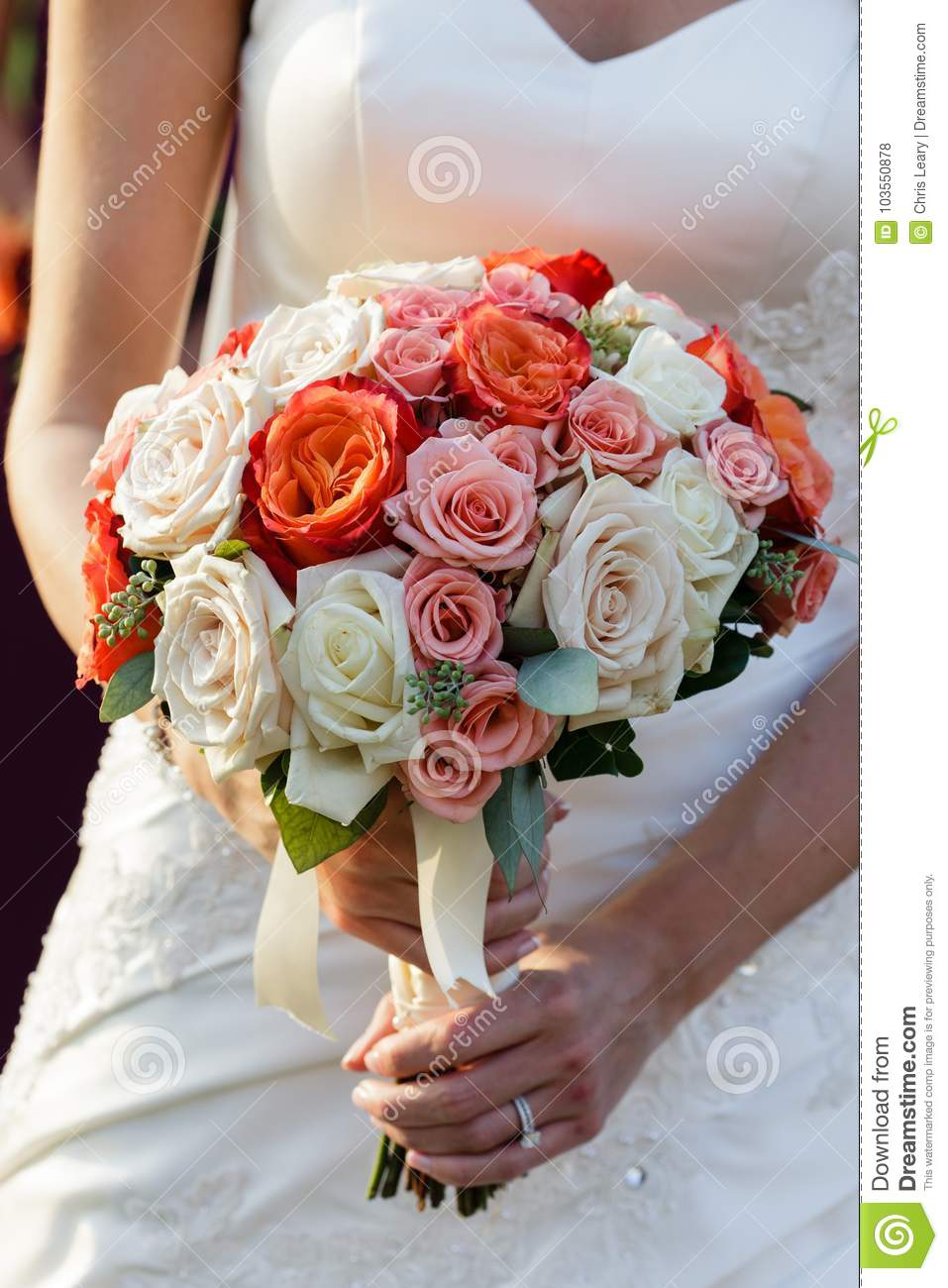 Bride Bridesmaid Holding Wedding Flower Bouquet Stock Photo - Image ...