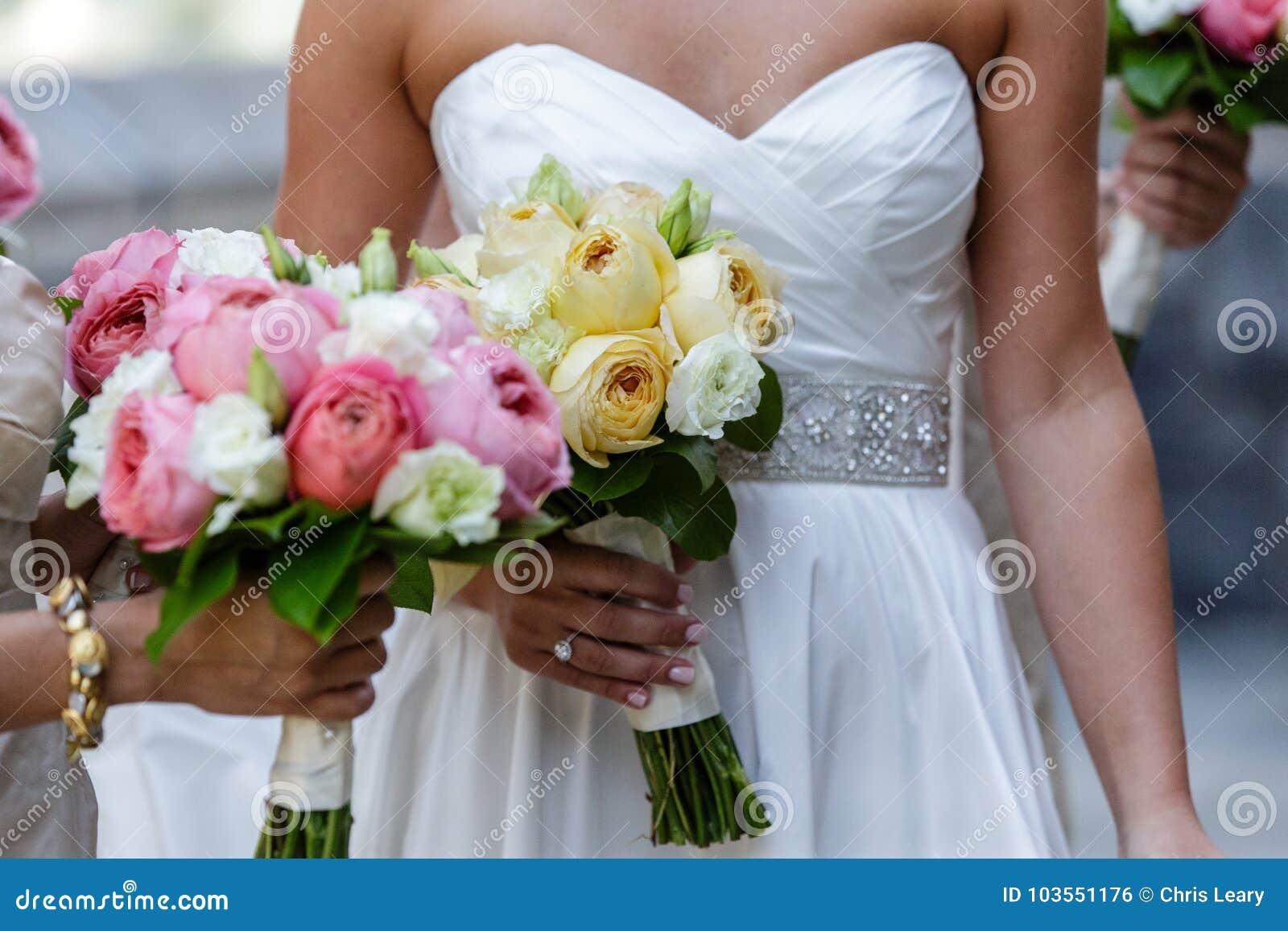 Bride Bridesmaid Holding Wedding Flower Bouquet Stock Photo Image