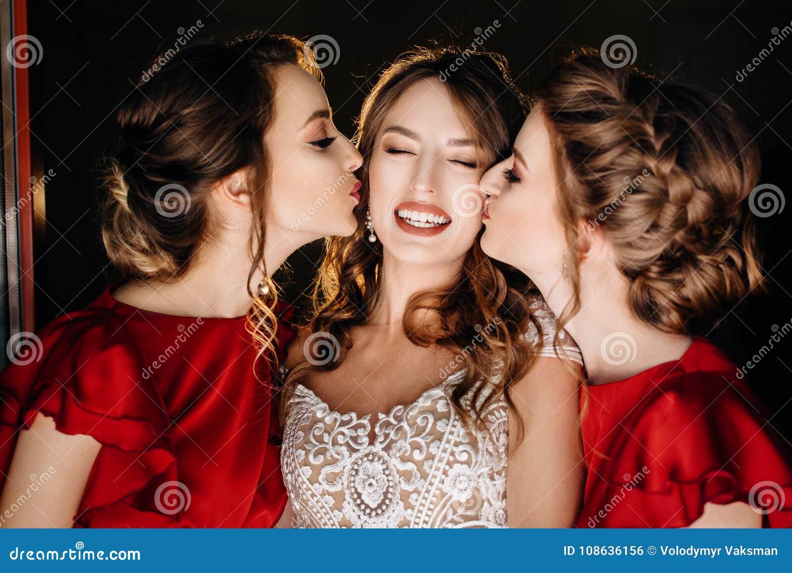 Beautiful Bride And Bridesmaids Posing Near Window Wedding