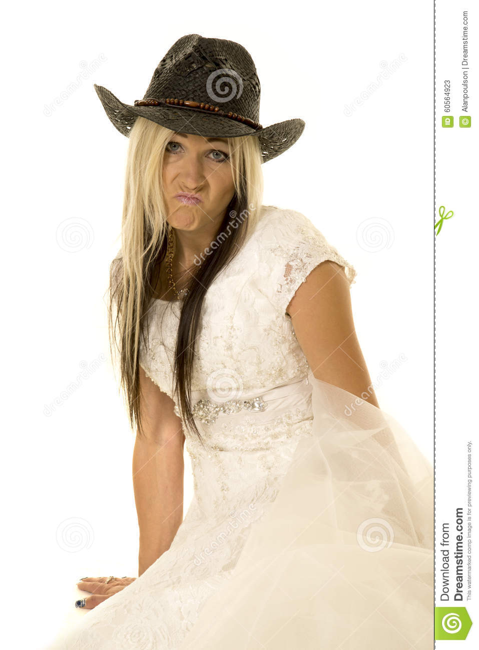 Bride In Cowboy Hat Sit Look Funny Expression Stock Image - Image of ... f3baa3f23c2