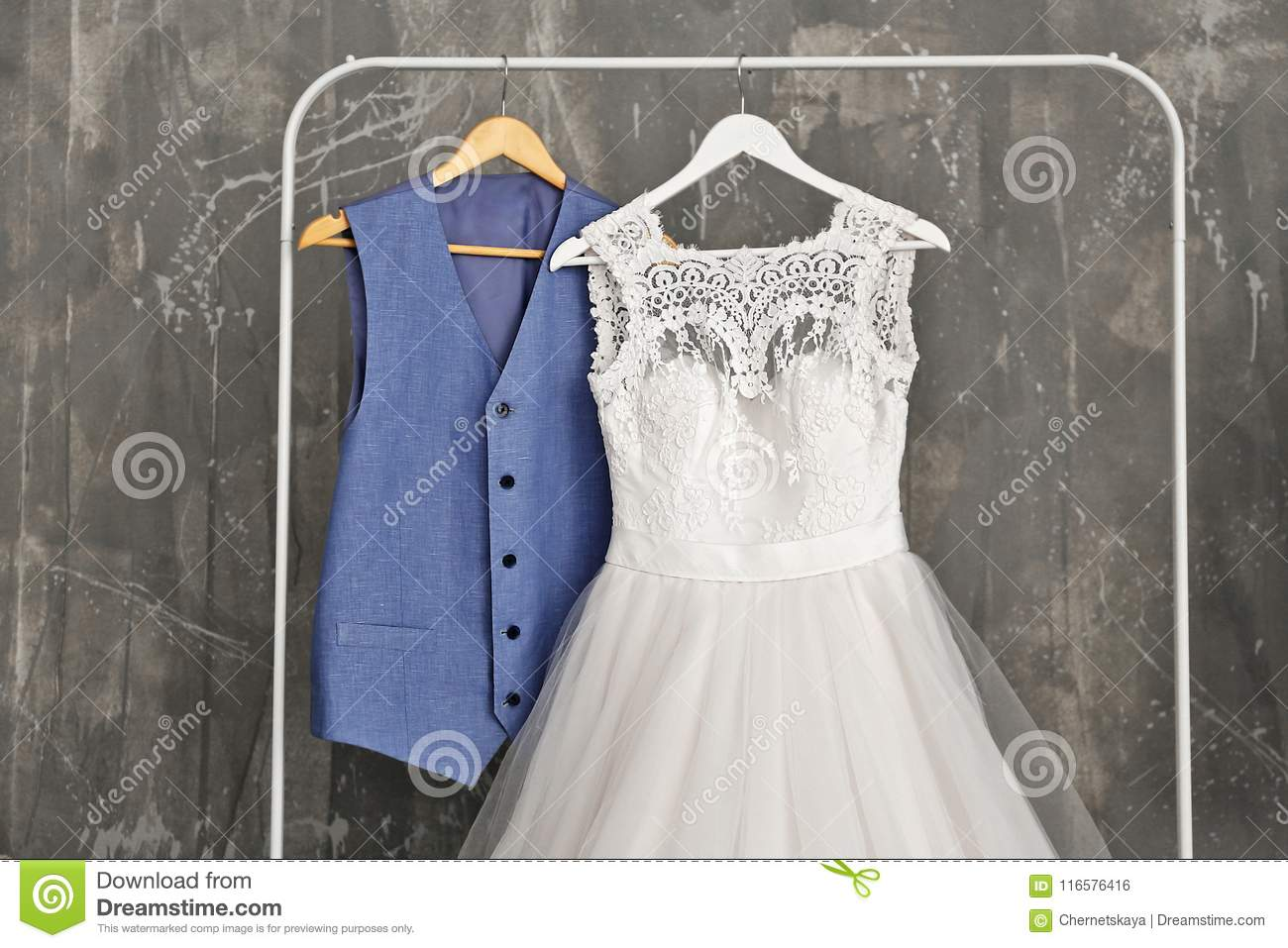 Bride Dress And Groom Suit In Dressing Room Stock Photo Image Of Creative Show 116576416,Beach Flowy Sleeveless Beach Flowy Wedding Dresses