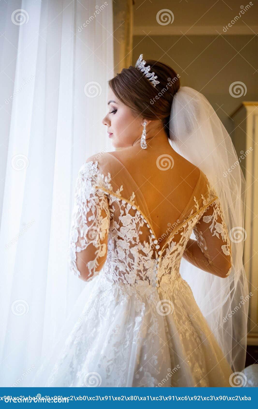 Beautiful Bride Dresses Her White Wedding Dress Stock Photo Image Of Elegant Gown 169630436,Fashionable Maria B Fashionable Wedding Dresses For Girls 2020