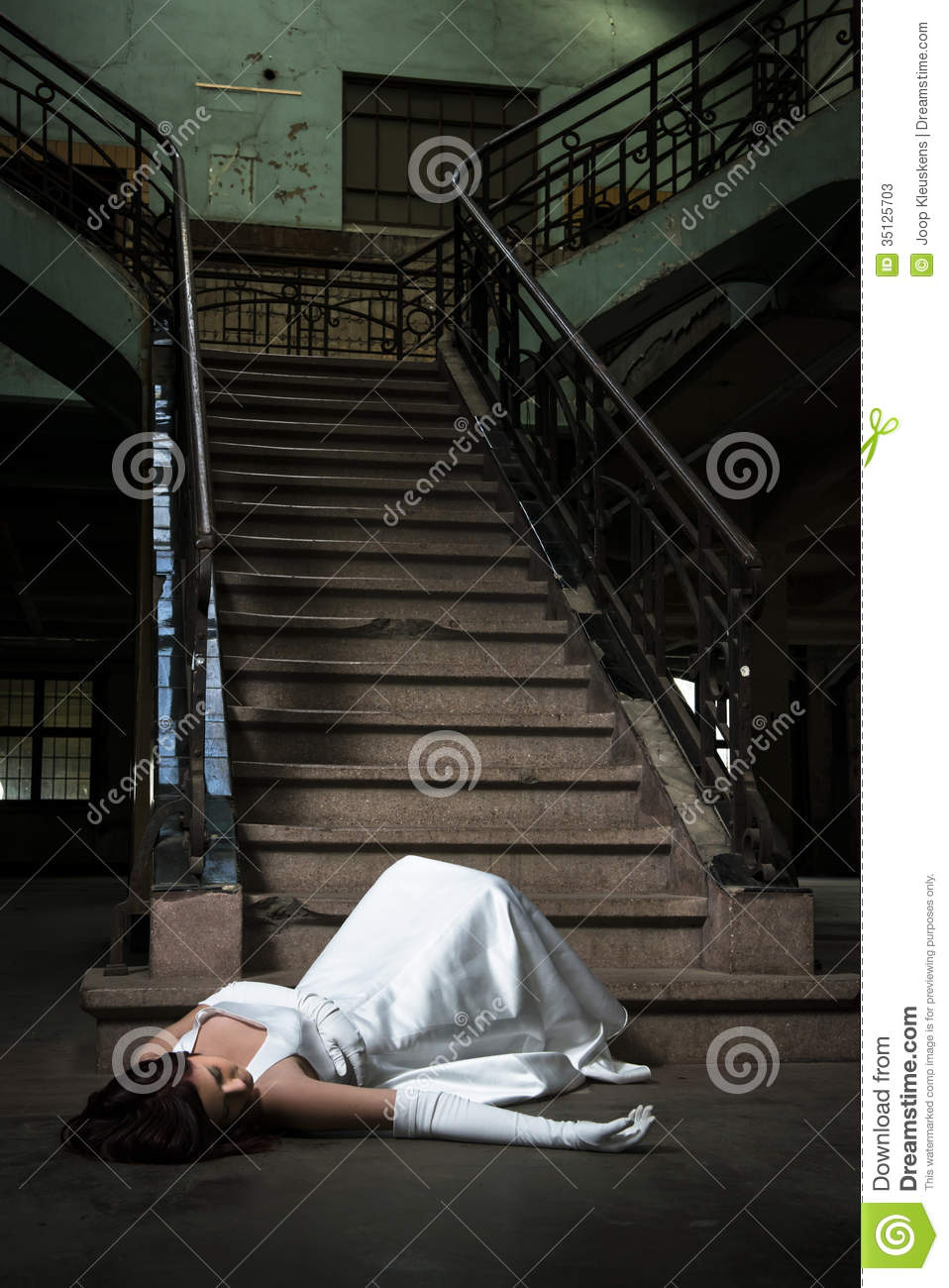Bride Is Fallen Down Stairs And Laying On The Ground