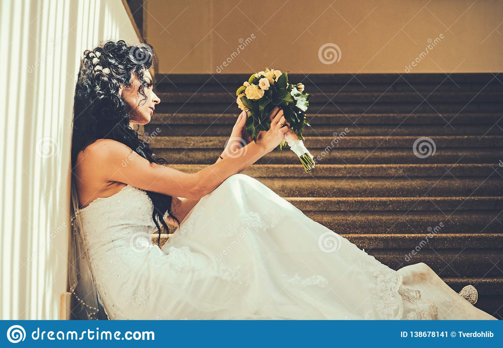Bride In Fashion White Dress Sensual Woman With Wedding Bouquet