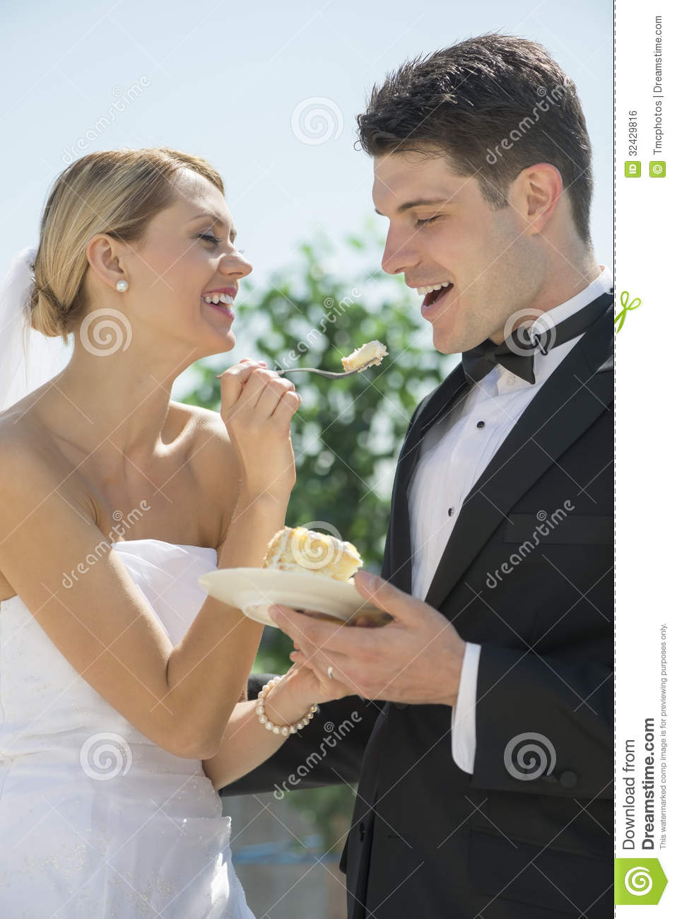 Young Happy Smiling African American Black Teen Girl With: Bride Feeding Wedding Cake To Groom Stock Photo