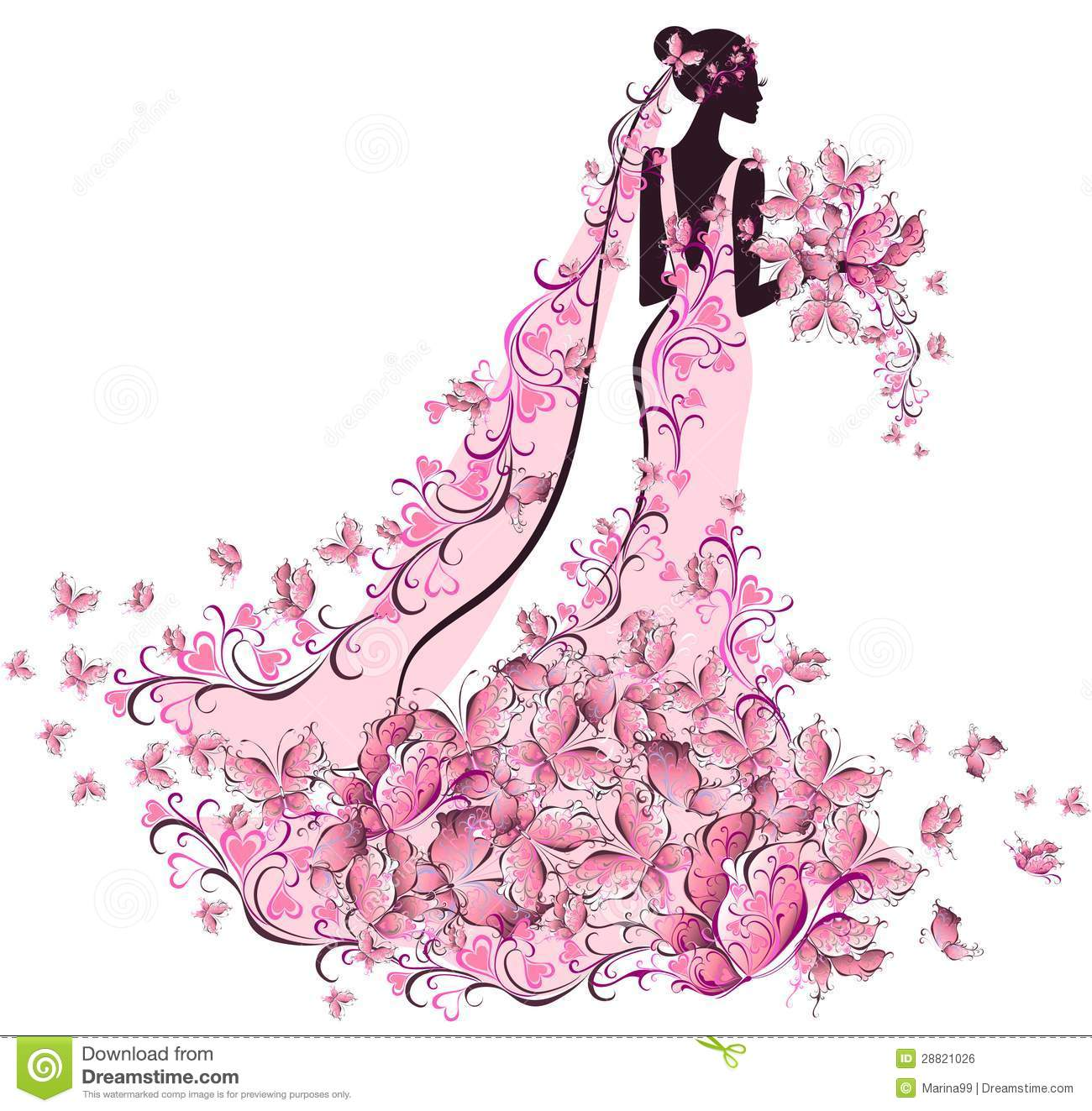 Bride In Floral Dress With Butterfly Stock Vector
