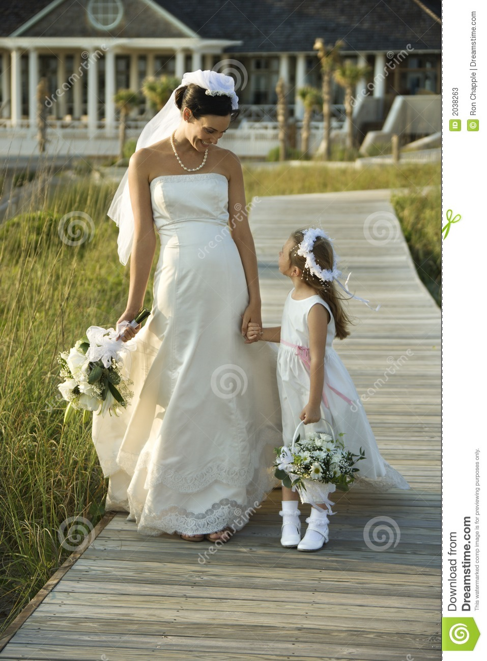 Download Bride And Flower Girl Walking. Stock Image - Image of length, photograph: 2038263