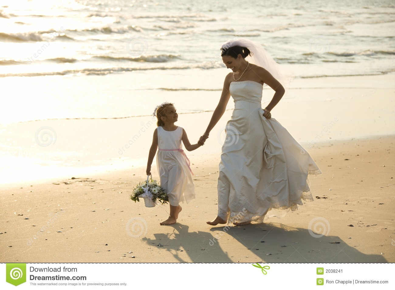 Download Bride And Flower Girl Walking On Beach. Stock Image - Image of barefoot, child: 2038241