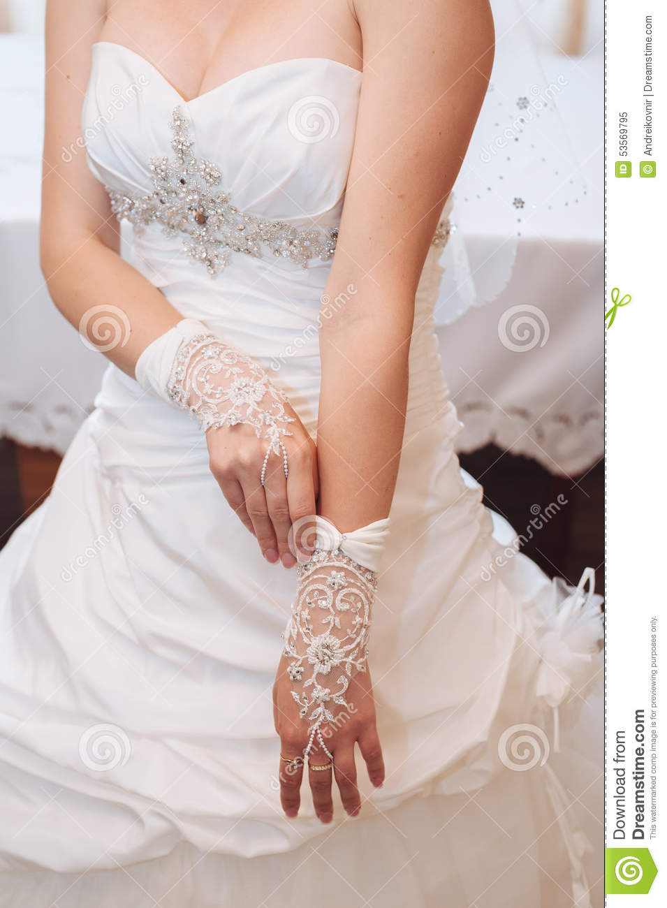 Bride Getting Ready Beautiful Bride In White Stock Image Image Of