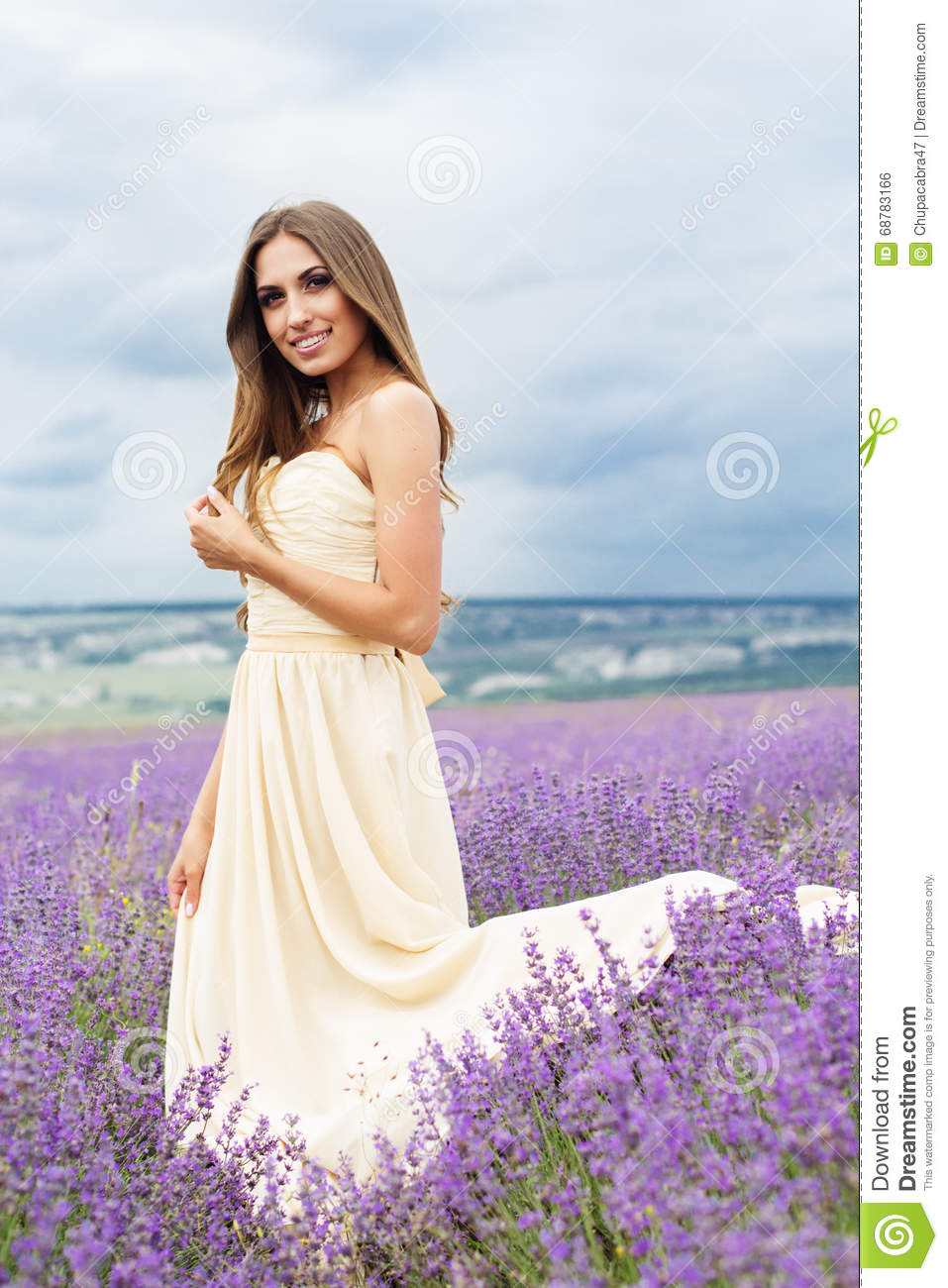 Bride Girl In White Dress At Lavender Field Stock Photo Image Of