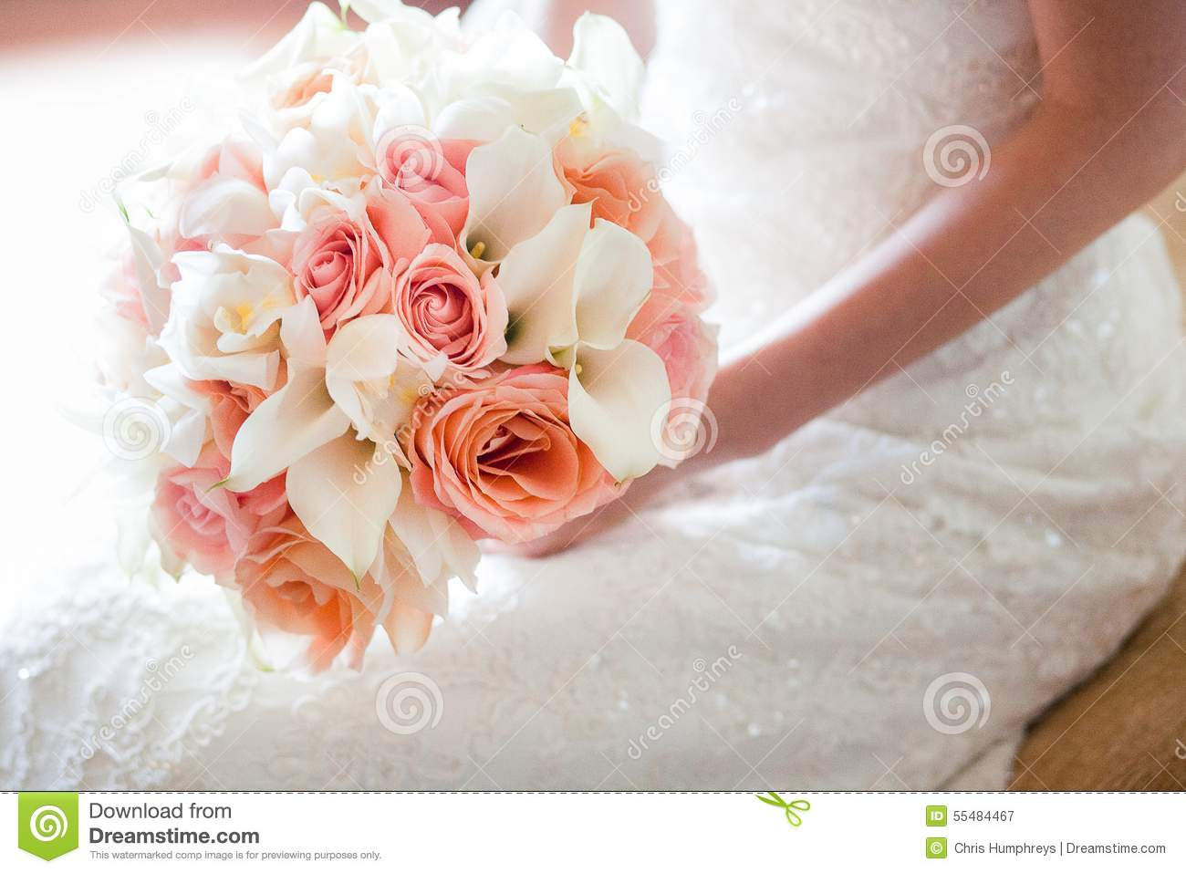 Bride With Orange And Pink Wedding Bouquet Stock Image Image Of