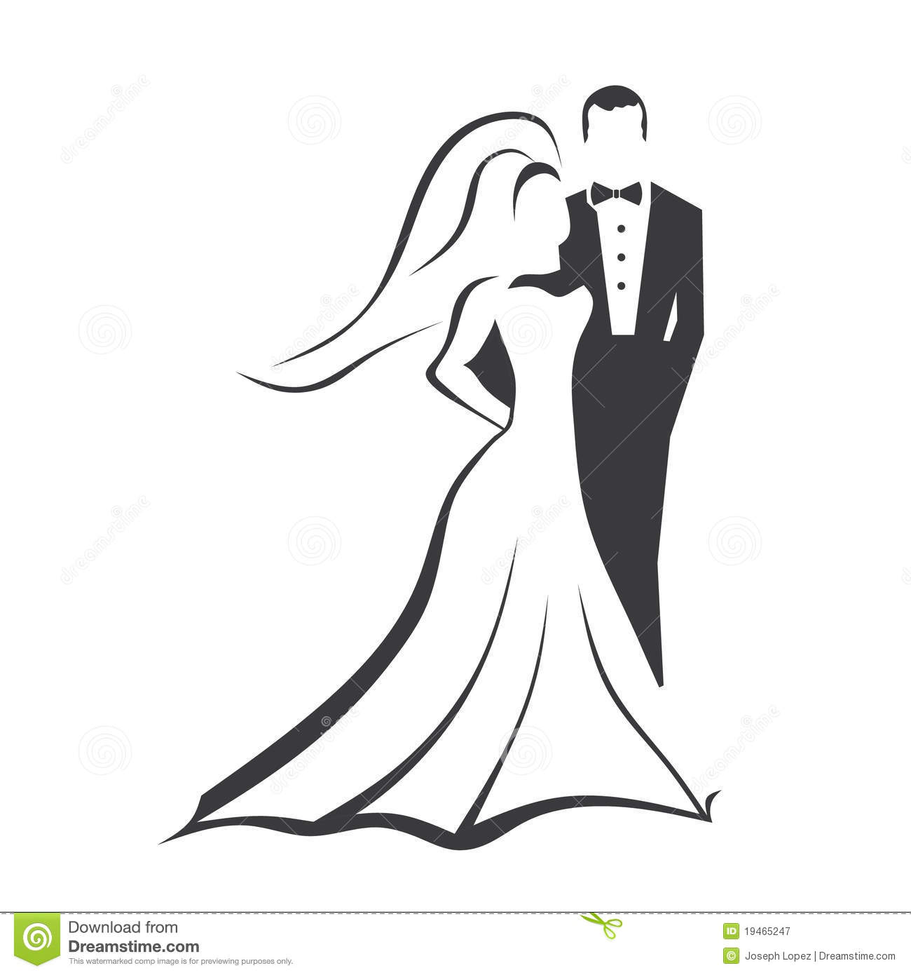 Bride and Groom stock vector. Illustration of groom, gown ...
