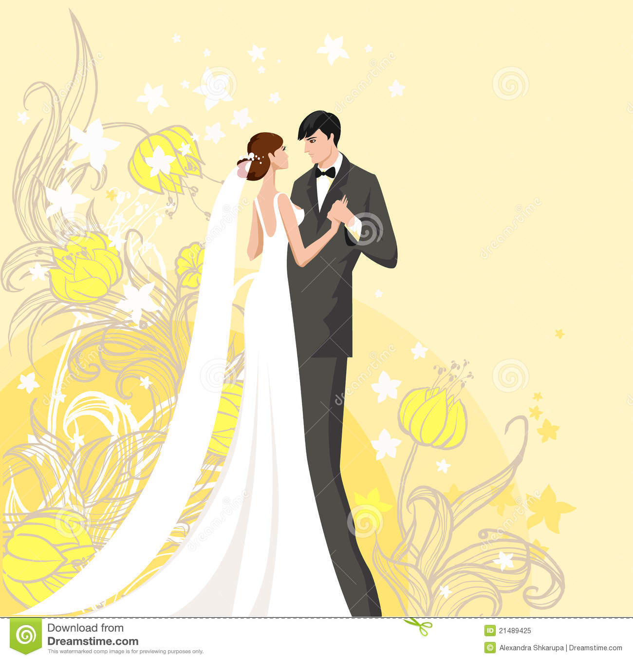Bride And Groom Stock Vector. Illustration Of Announcement