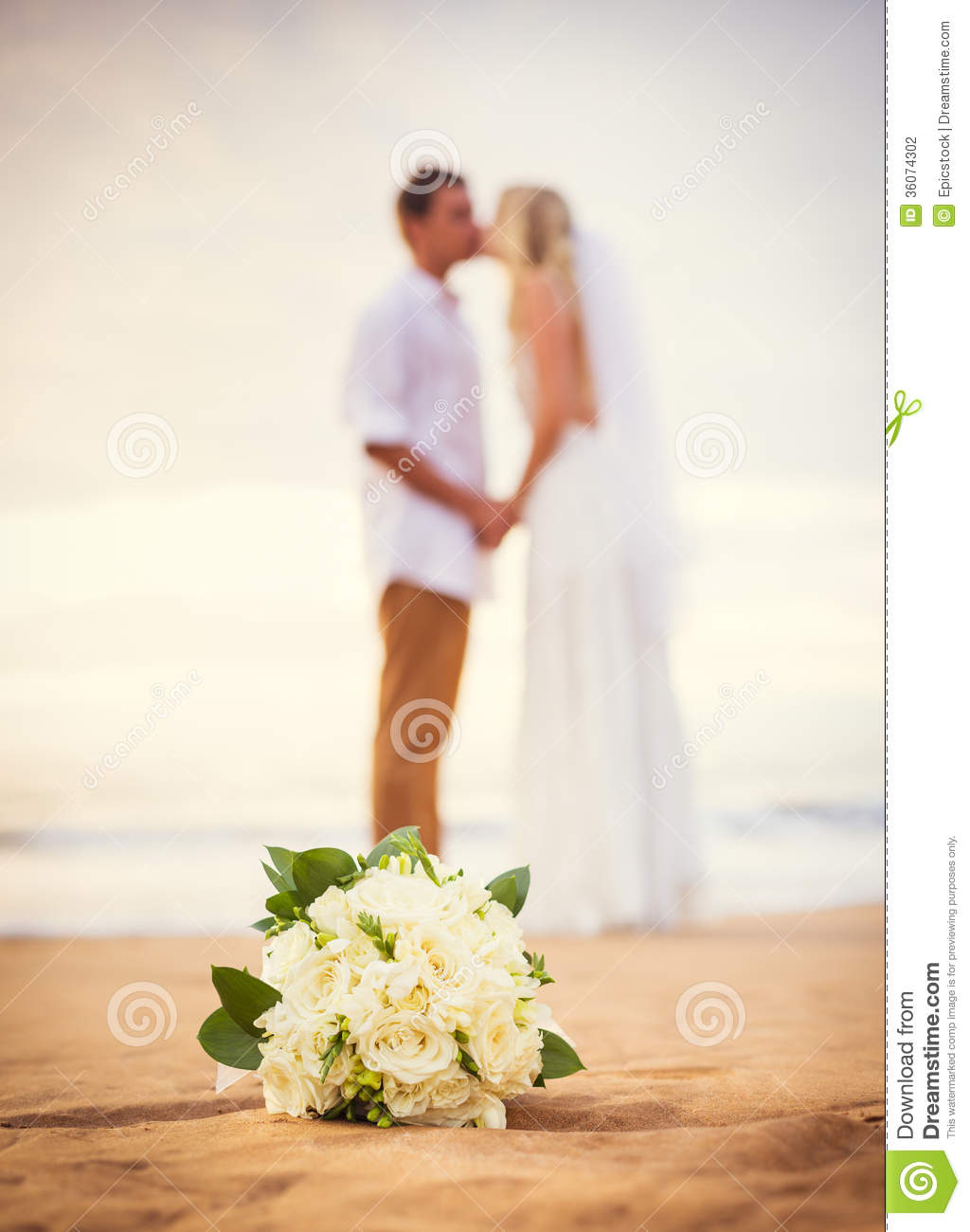 Bride And Groom Beautiful Tropical Beach At Sunset