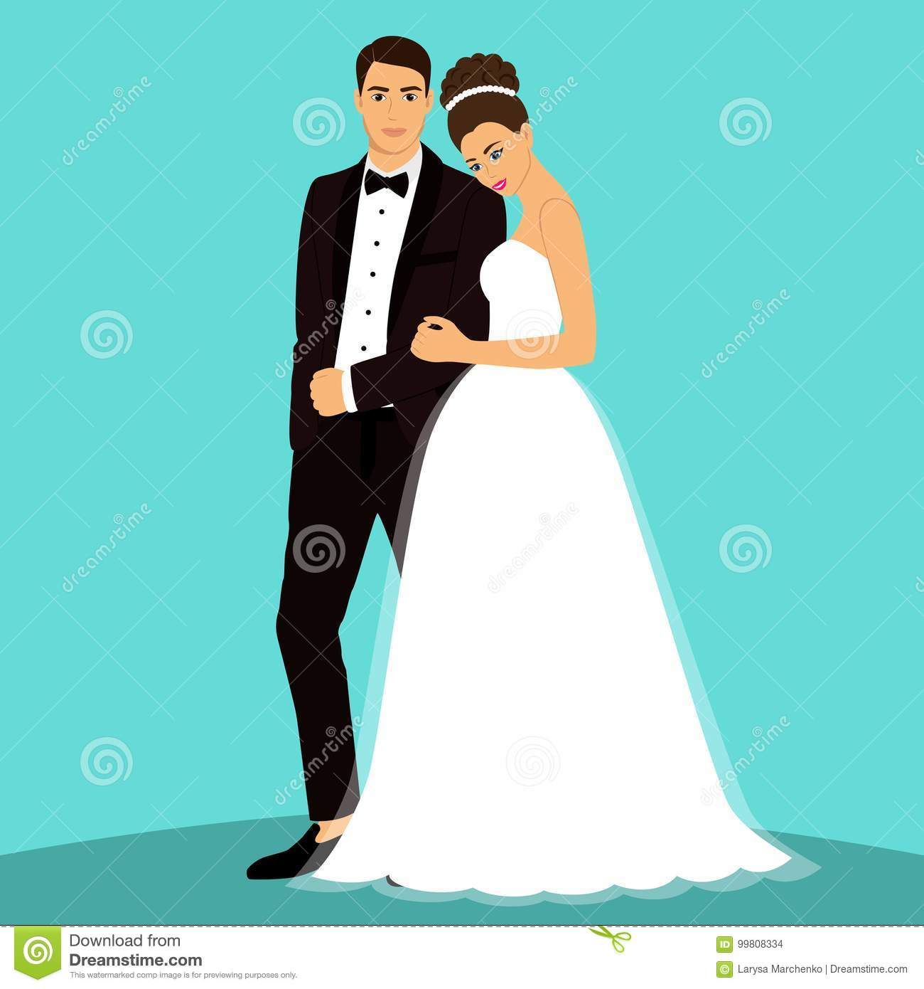 Bride and groom. stock vector. Illustration of invitation - 99808334