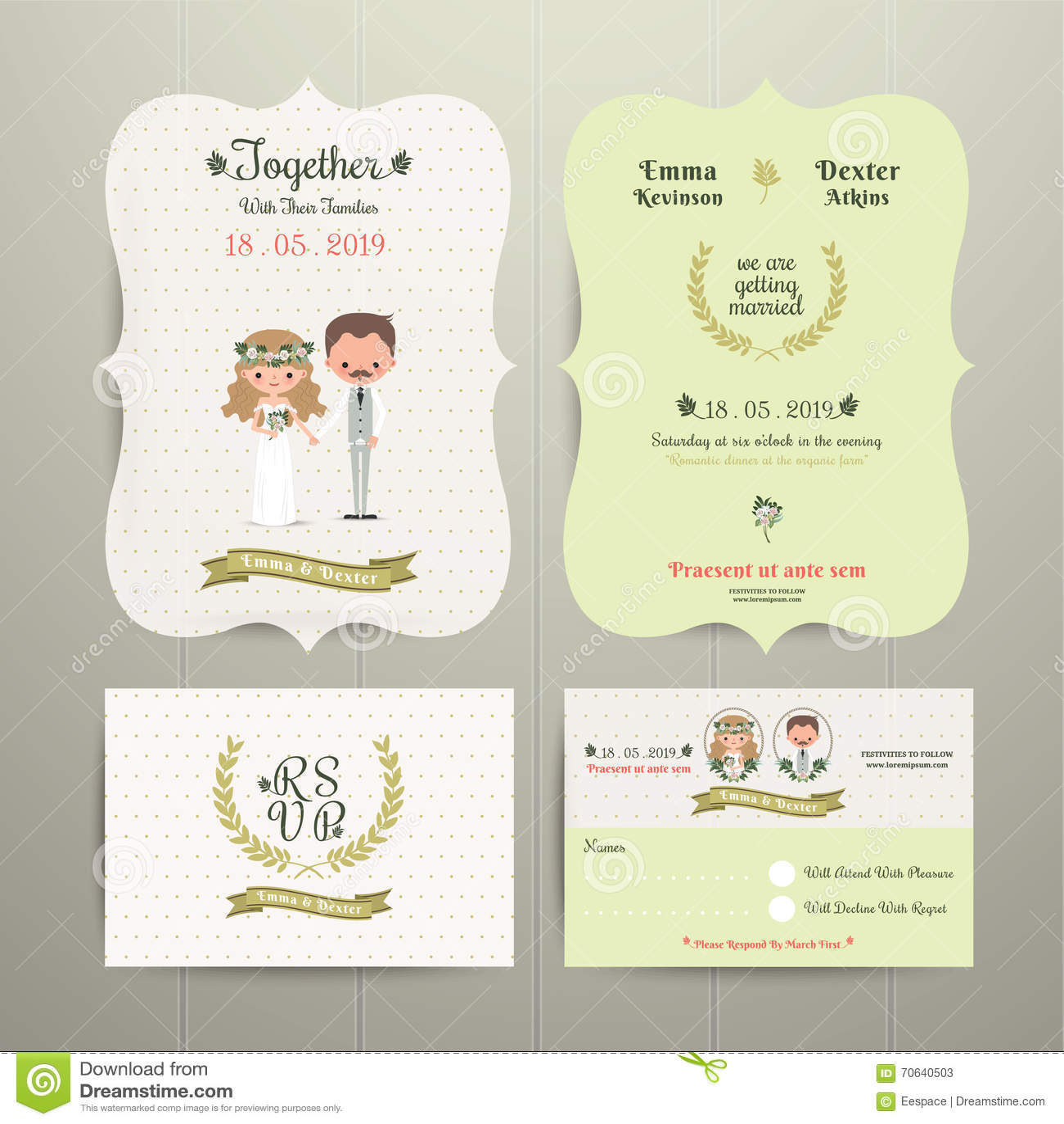 Bride Groom Cartoon Romantic Farm Wedding Invitation Card And