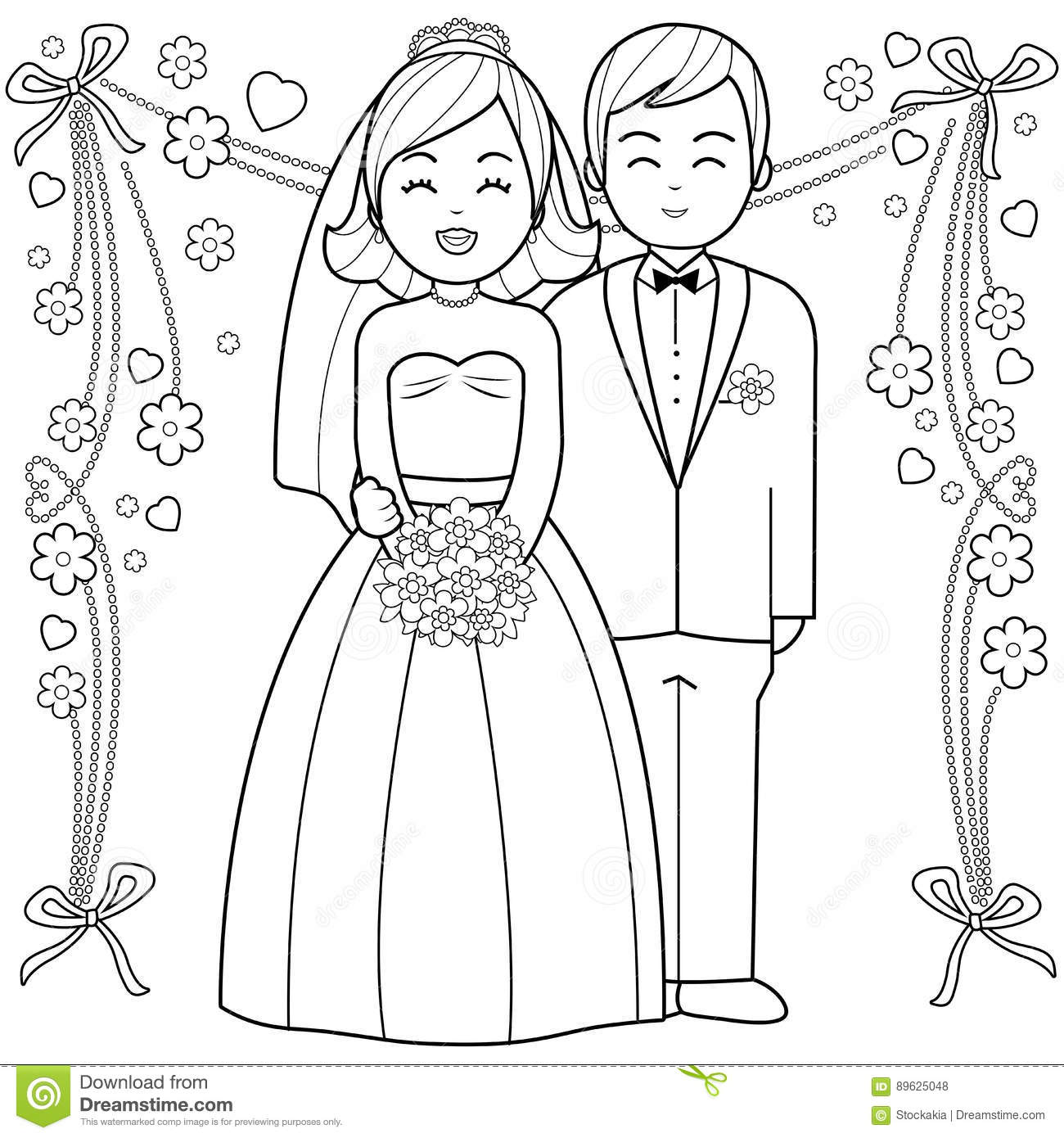bride and groom coloring book page stock vector illustration of