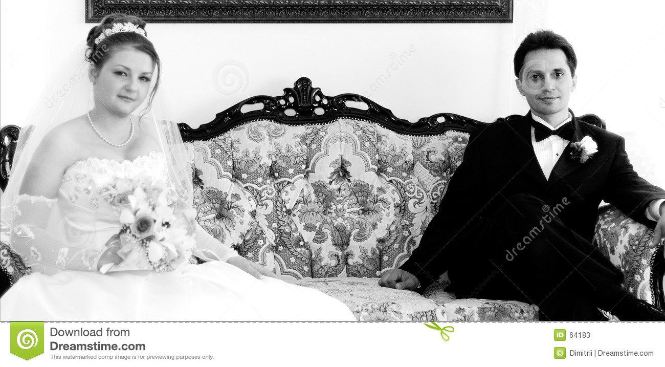 Bride and Groom on a couch