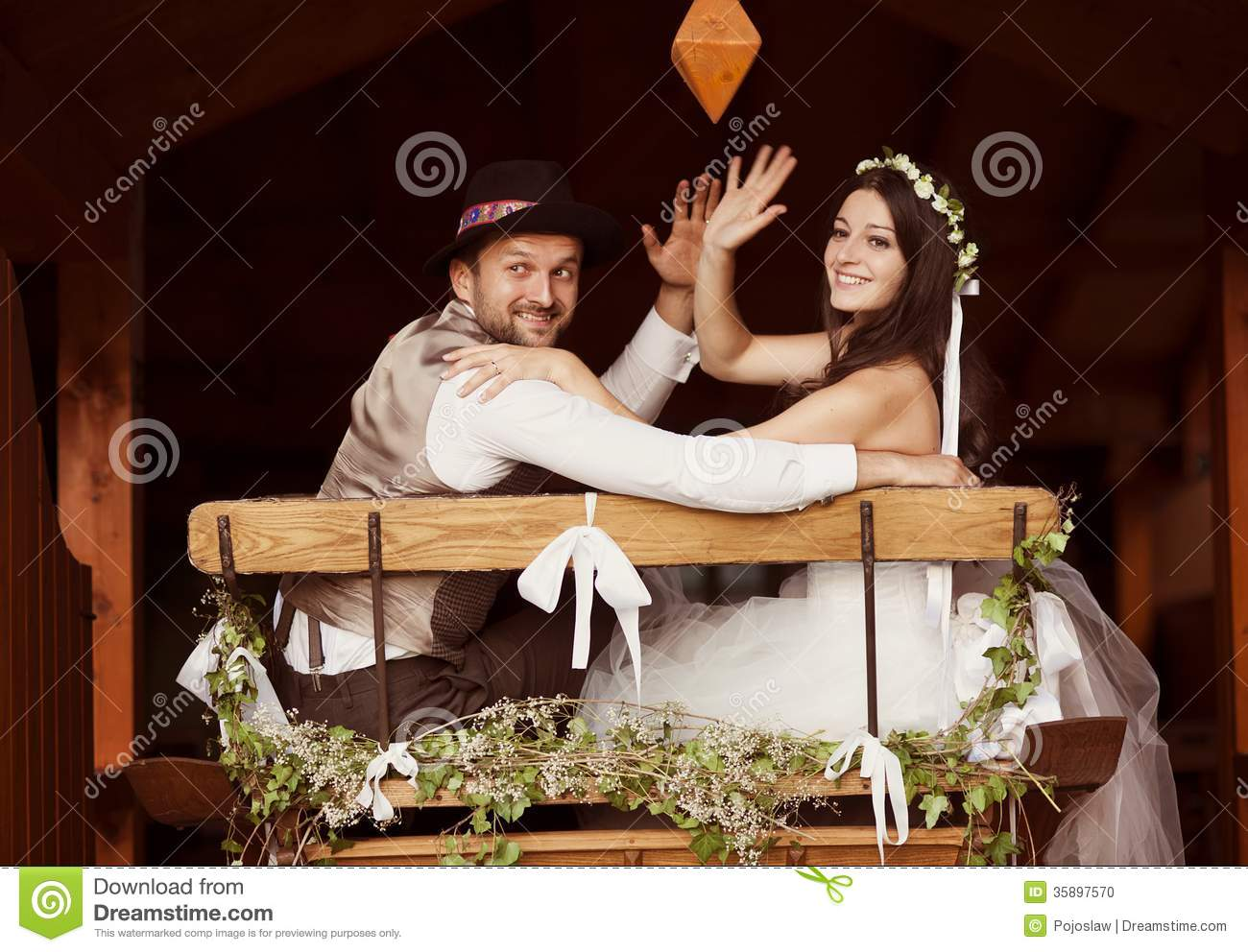 Bride And Groom Country Style Wedding Stock Photo - Image: 35897570
