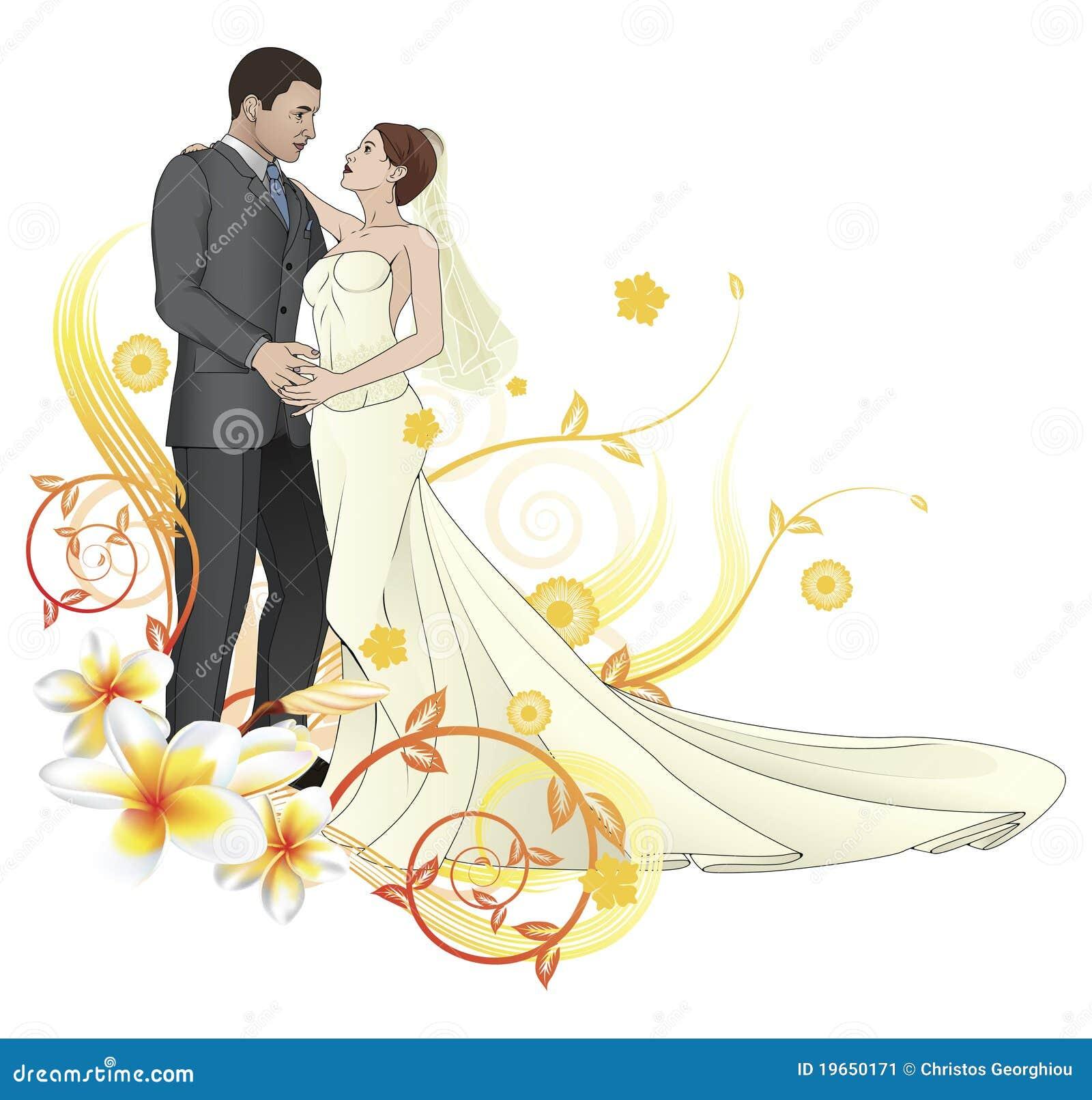 Bride And Groom Dancing Floral Background