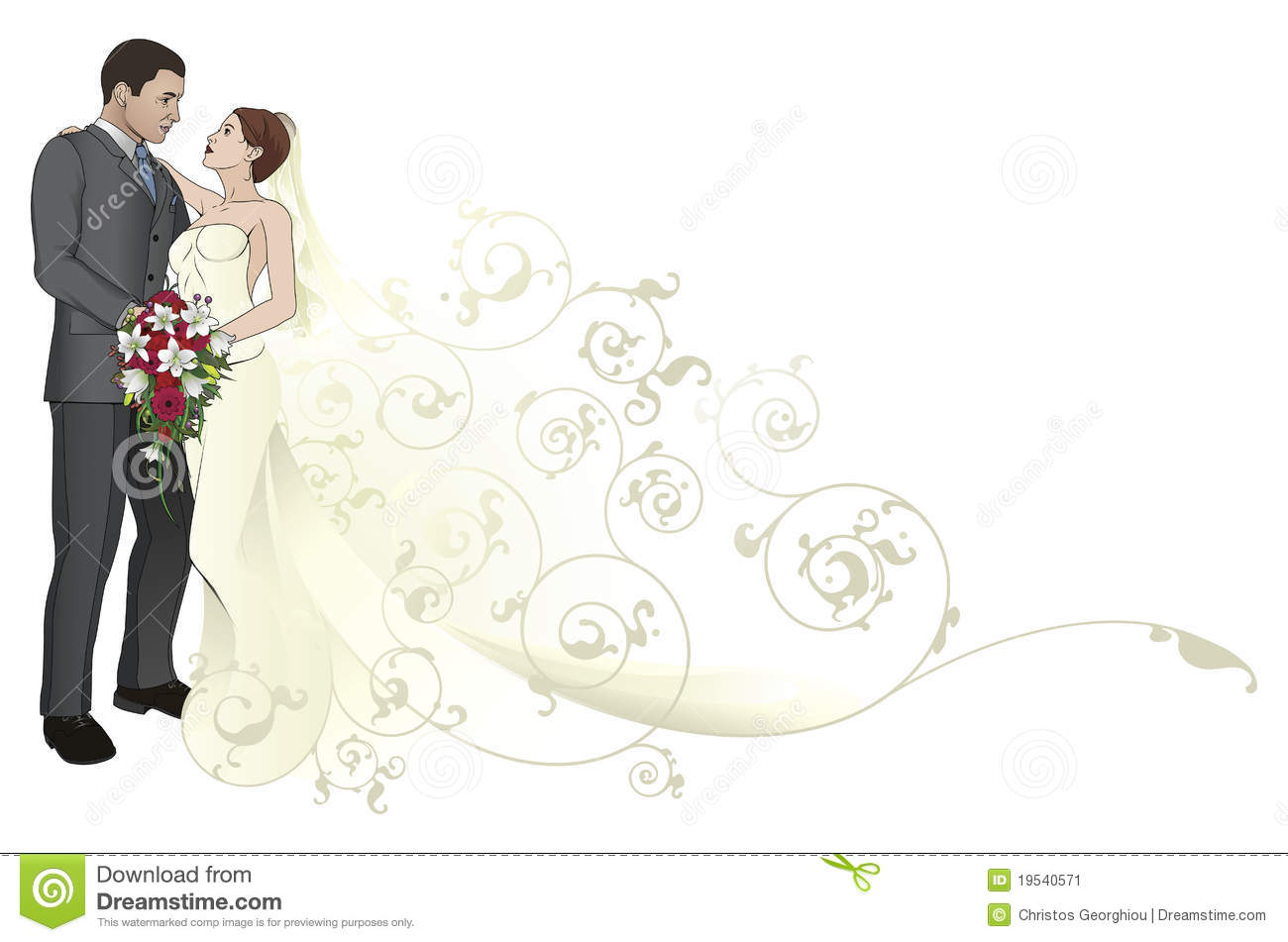 Bride And Groom Embracing Background Pattern