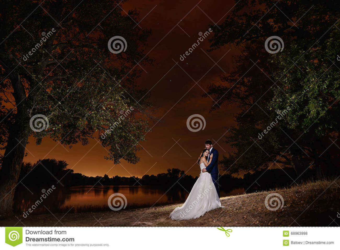 Bride And Groom Embracing By The Lake Under The Stars. Stock Photo ...