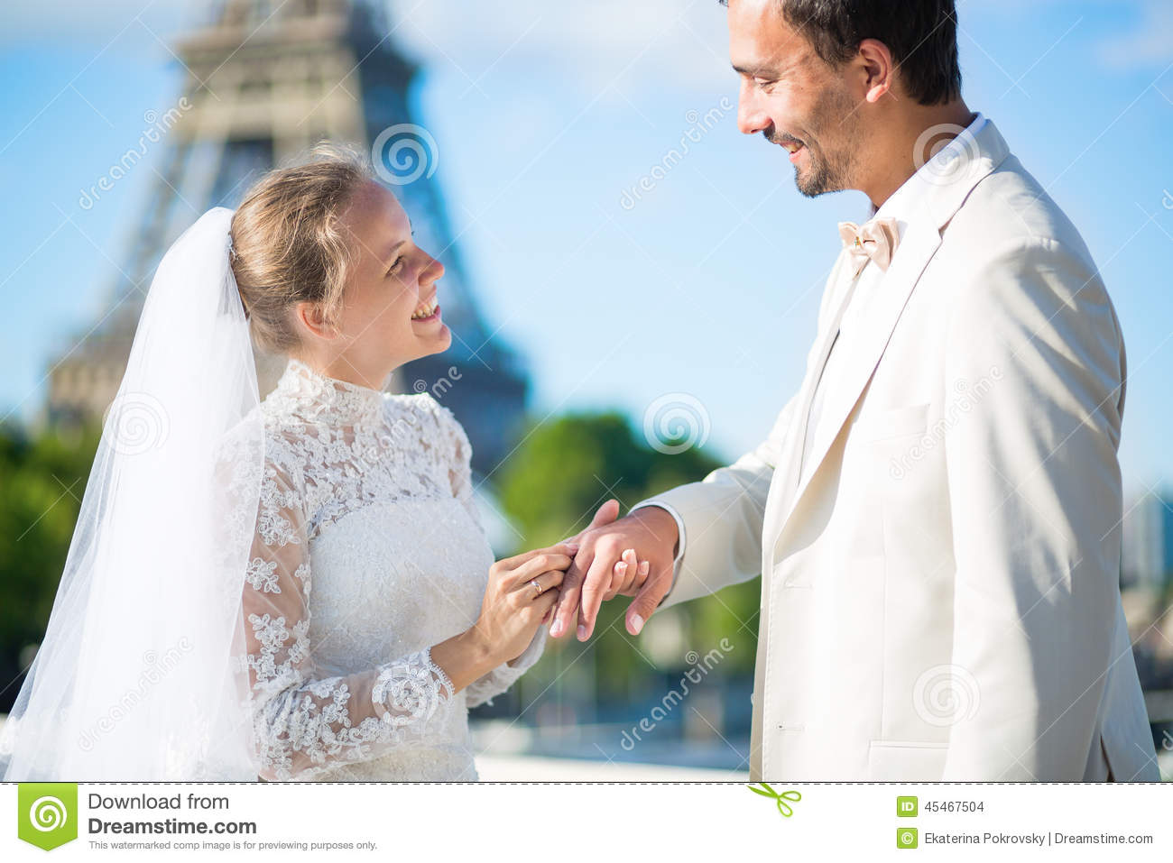 Bride And Groom Exchanging Rings In Paris Stock Photo