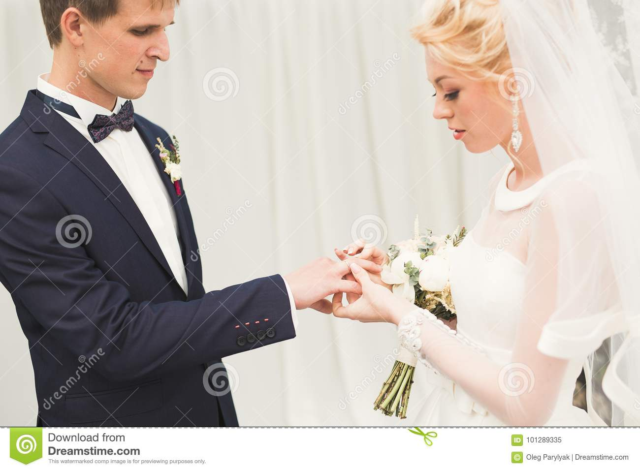 Bride And Groom Exchanging Wedding Rings. Stylish Couple Official Ceremony Stock Image