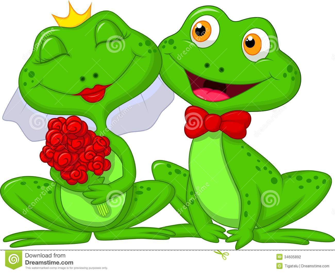 Bride And Groom Frogs Cartoon Characters Stock Photography
