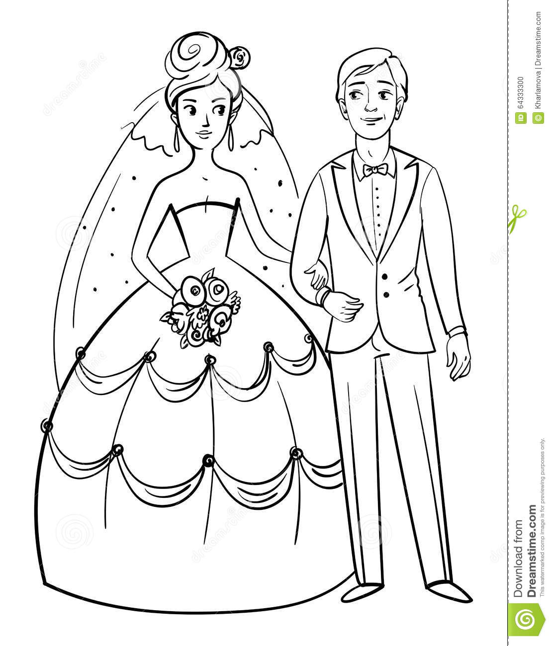 Bride and groom stock vector. Illustration of invitation - 64333300