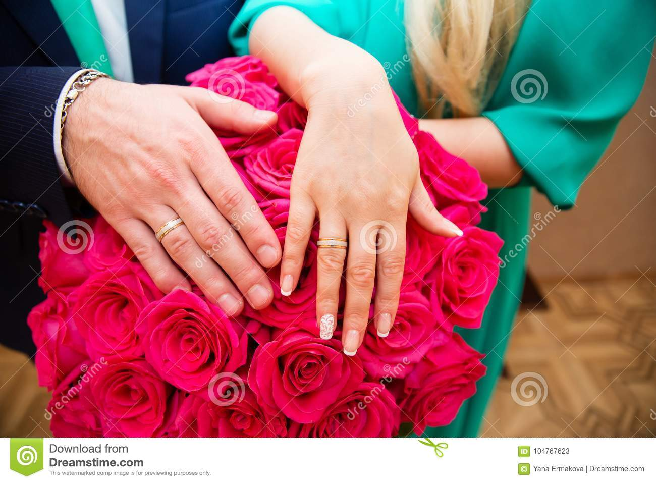 Bride And Groom Hands With Wedding Rings Stock Image Image Of
