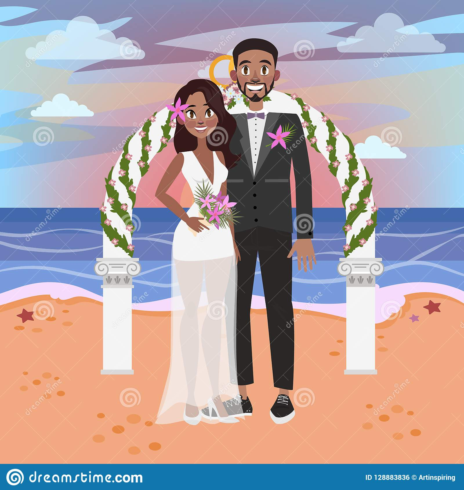 Bride And Groom Have A Wedding On The Beach. Stock Vector