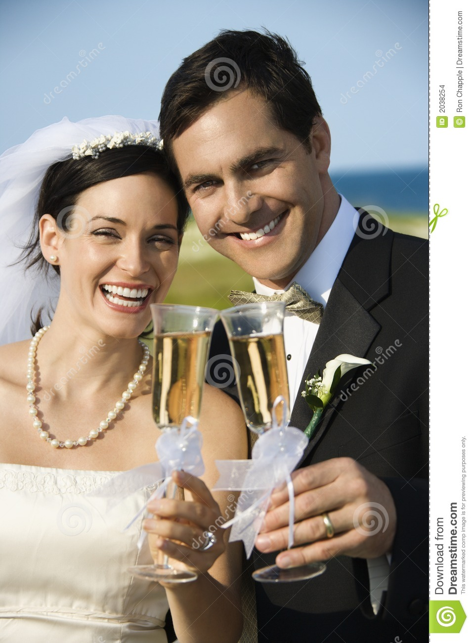Download Bride And Groom Holding Champagne. Stock Photo - Image of woman, commitment: 2038254