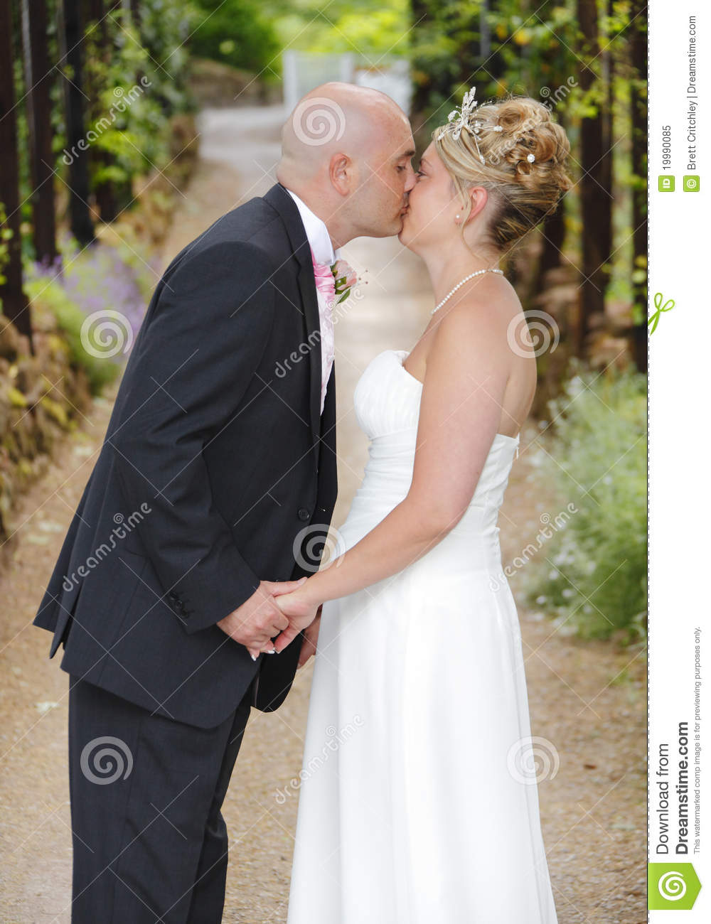 Bride and groom kiss stock image Image