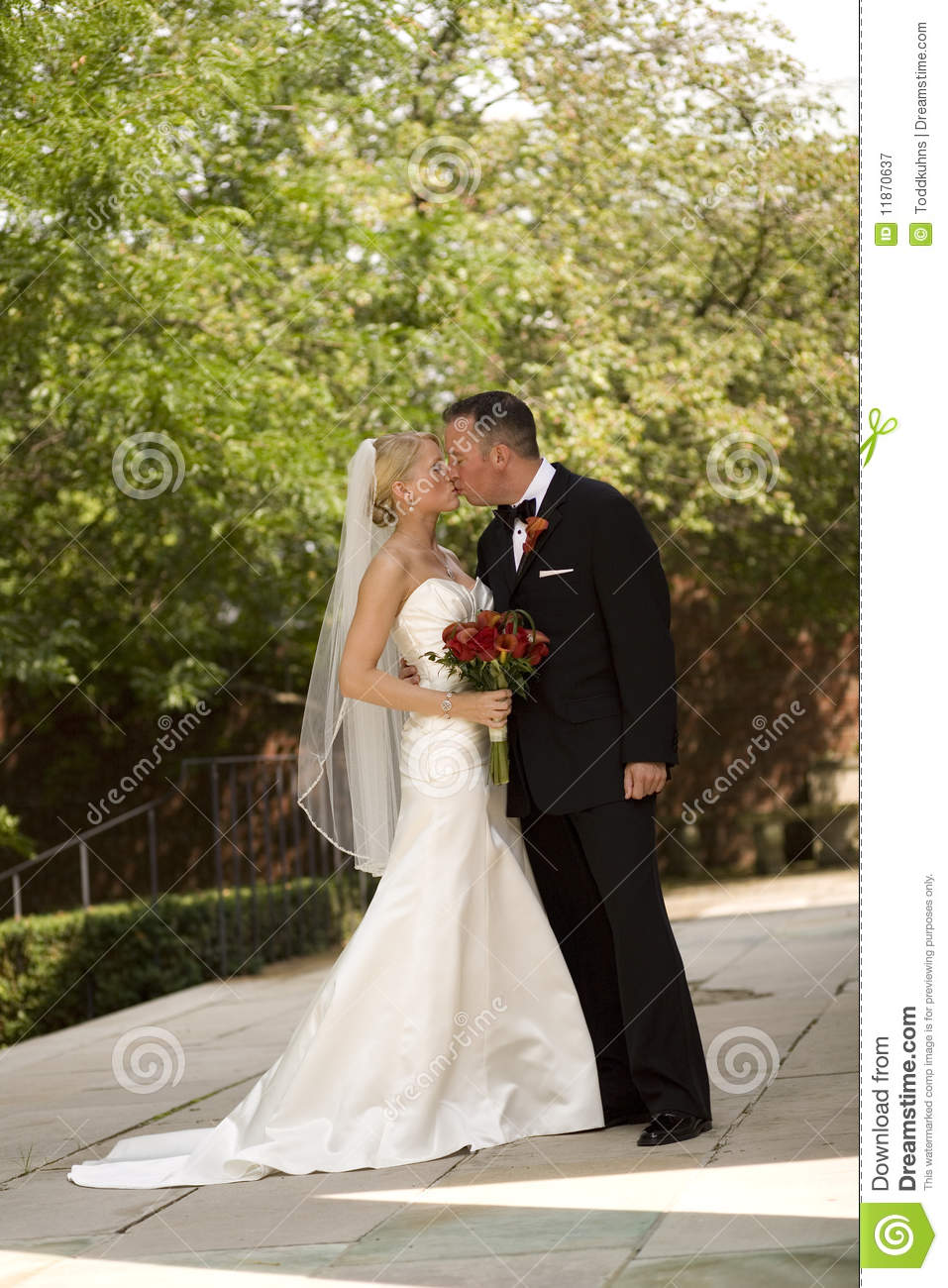 Bride and Groom Kissing stock image Image