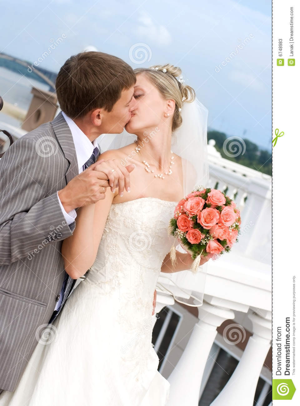 Bride And Groom Kissing Outdoor Stock Image - Image: 6748983