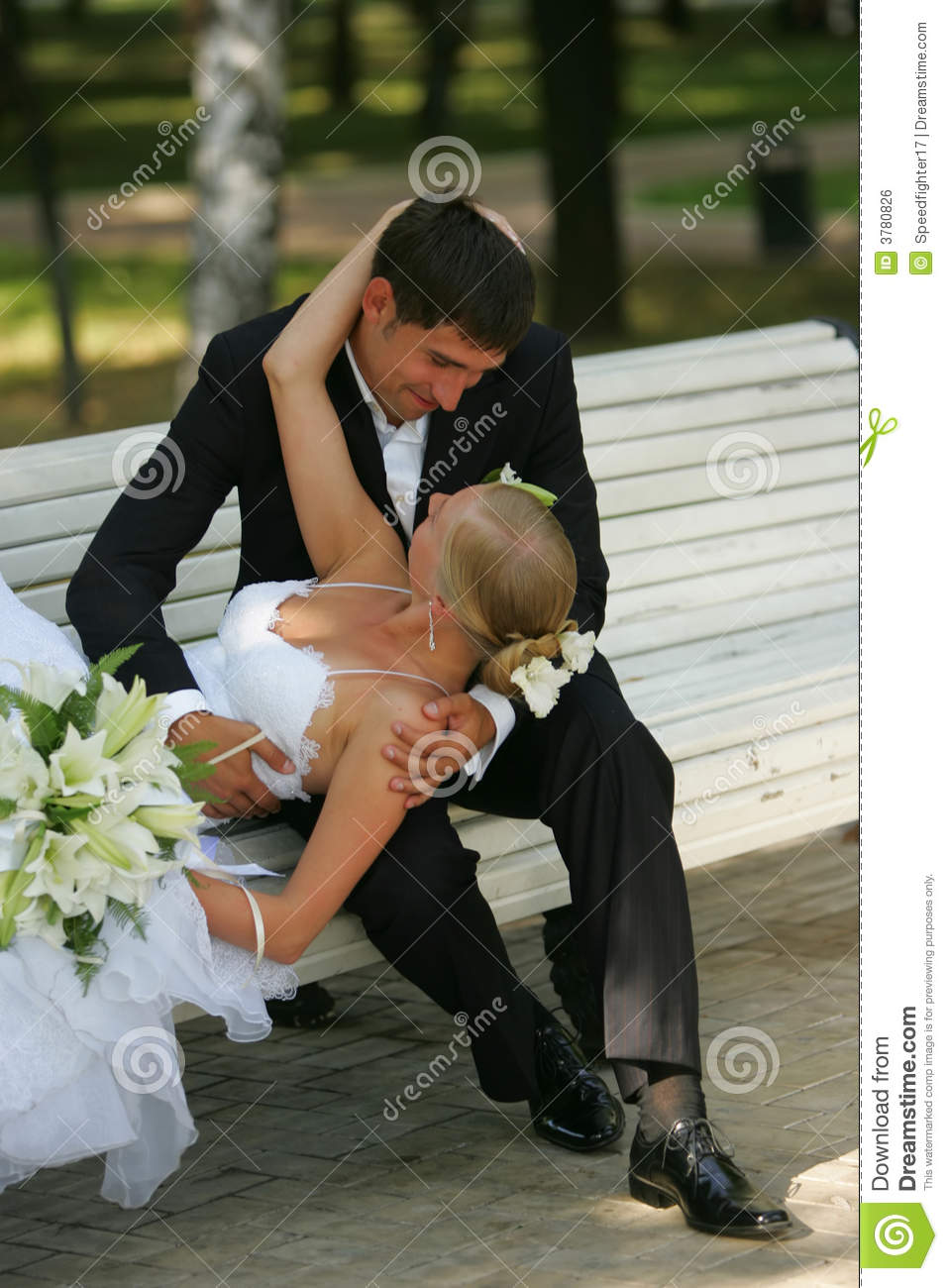 Bride And Groom Kissing On Park Bench Royalty Free Stock Image - Image ...